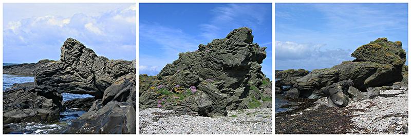Big rocks standing guard on the Kintyre seashore © 2004 Scotiana