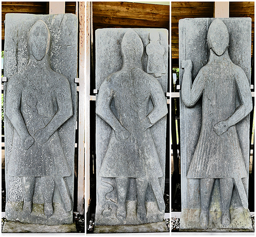 Three knights on carved stone slabs in Saddell Abbey Kintyre © 2015 Scotiana