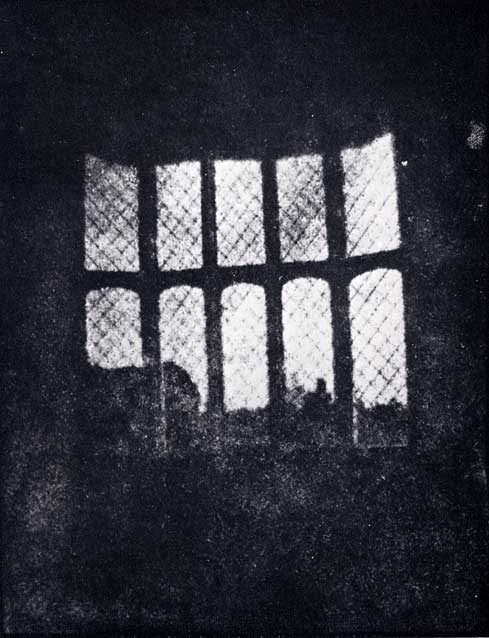 A latticed window in Lacock Abbey photographed by William Fox Talbot in 1835