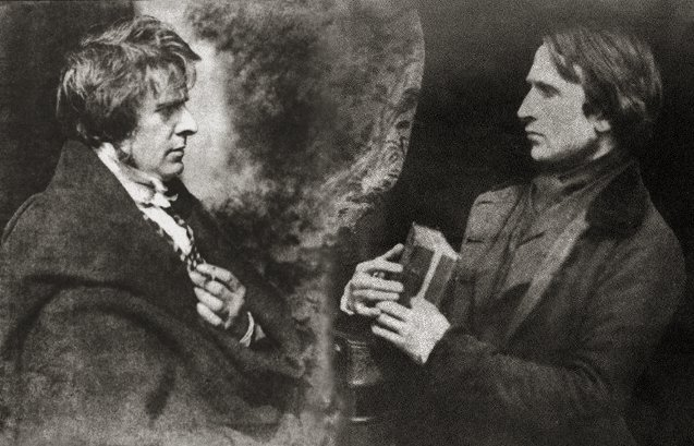 Composite photograph of David Octavius Hill (left) circa 1845, and Robert Adamson (right) circa 1845