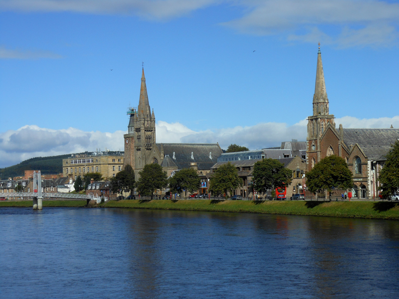 Inverness river Ness - footbridge and churches © 2012 Scotiana