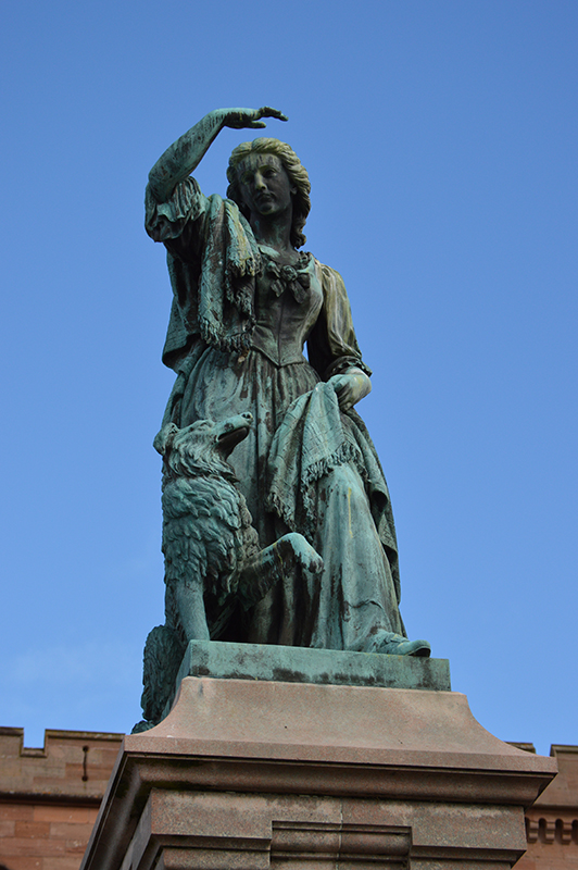 The statue of Flora MacDonald on the esplanade of Inverness Castle © 2012 Scotiana