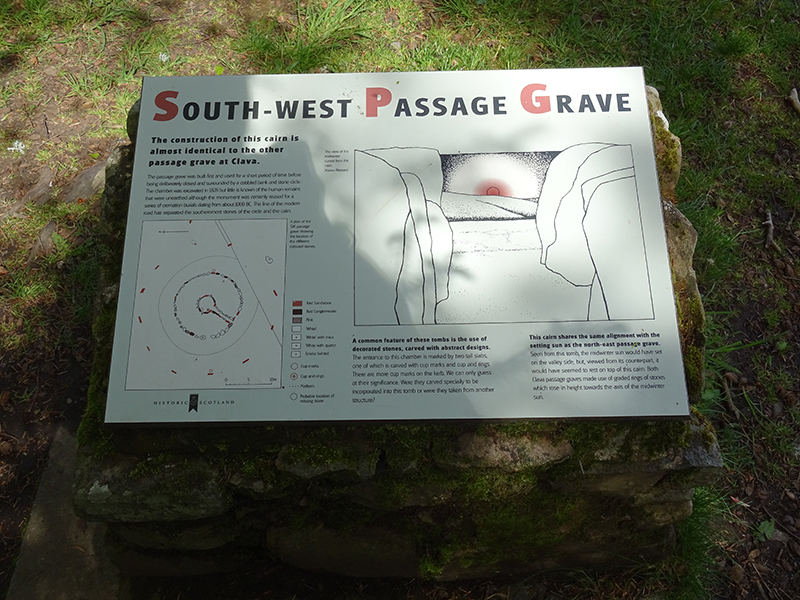 Clava Cairns South-West Passage Grave HES panel © 2015 Scotiana