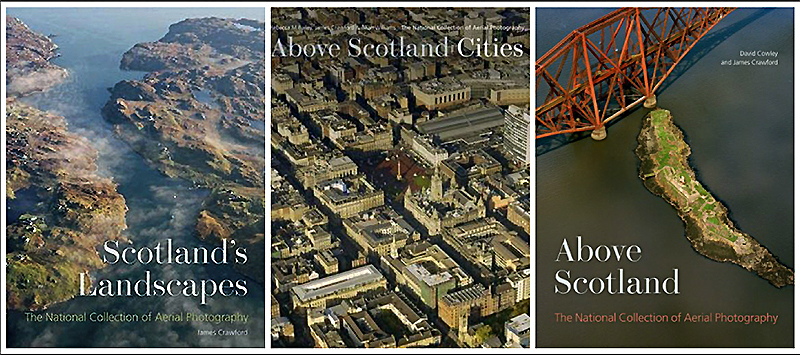 James Crawford three books with aerial photography of Scotland