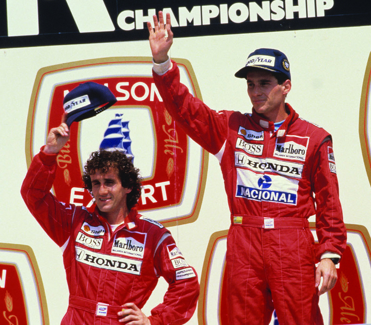 Alain Prost and Ayrton Senna, at GP Molson du Canada in Montreal, Canada in 1988