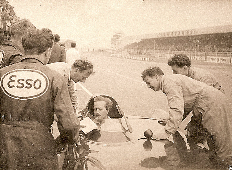 Colin Chapman testing one of his Lotus Eleven for the 1956 British Grand Prix Formula Two at Silverstone
