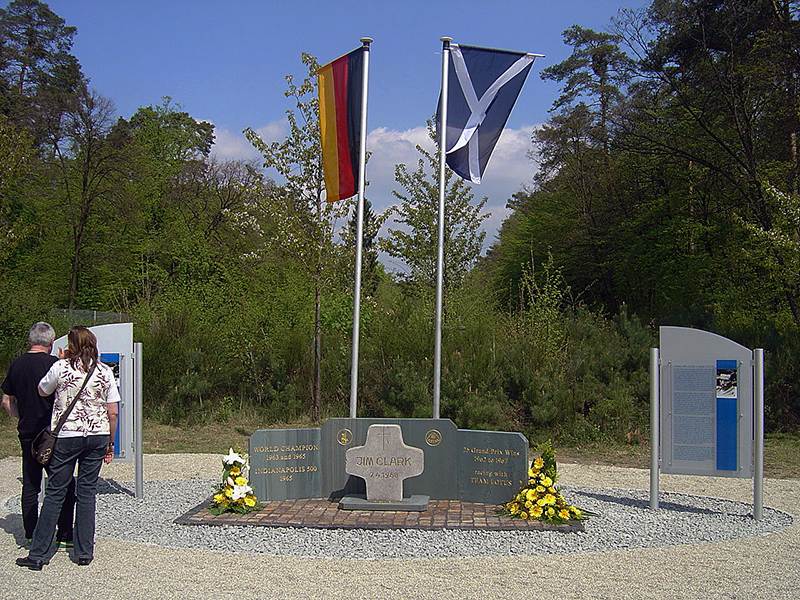 Jim Clark memorial German and Scottish flags Hockenheim Germany