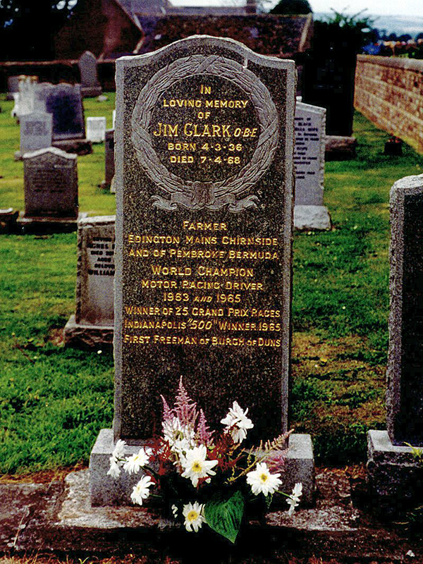 Jim Clark's grave in Chirnside by Ngchikit Source Wikipedia