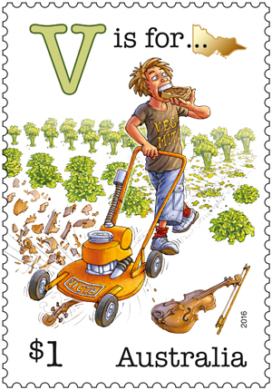 Lawn mowers on postage stamps Australia V Stamp Fair