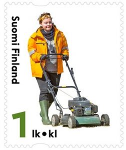 lawn mowers on postage stamps finlands_finland