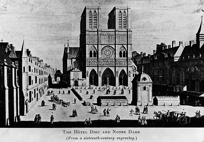 The Hotel-Dieu and Notre-Dame - 16th engraving - Source Wikipedia
