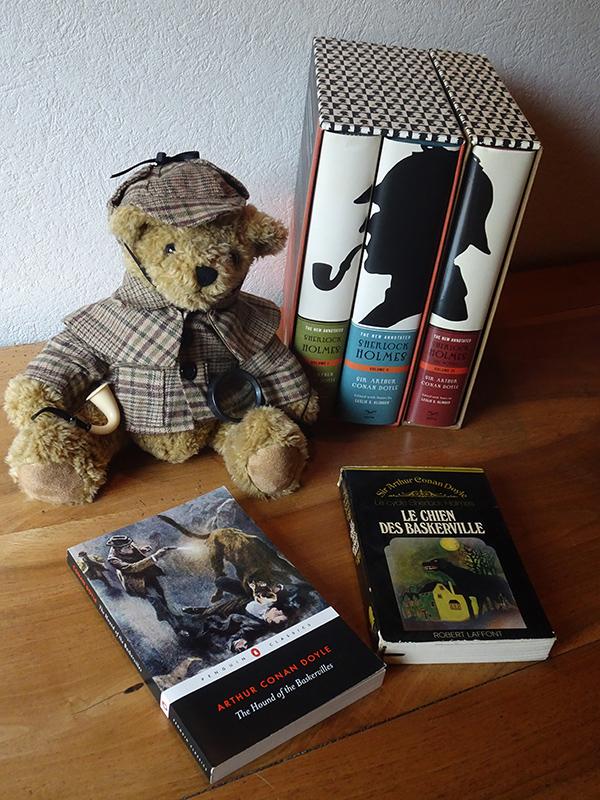 Sherlock Holmes teddy bear & books © 2019 Scotiana