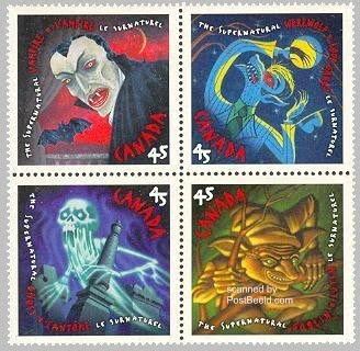 timbres canadiens halloween