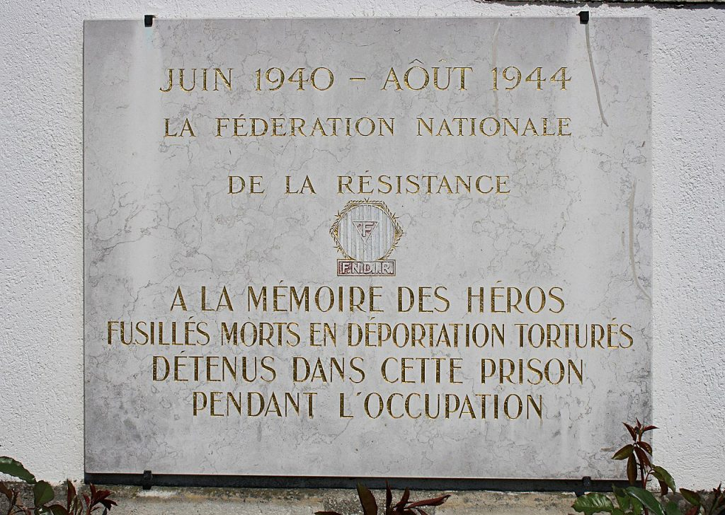 Memorial plaque in Paris Fresnes Prison