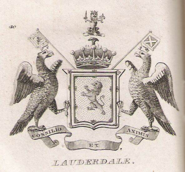 Arms of the Earls of Lauderdale as shown in Brown's The Peerage of Scotland, 1834