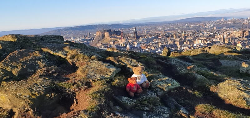 Christmas in Edinburgh our mascots on Arthur's Seat path © 2019 Scotiana