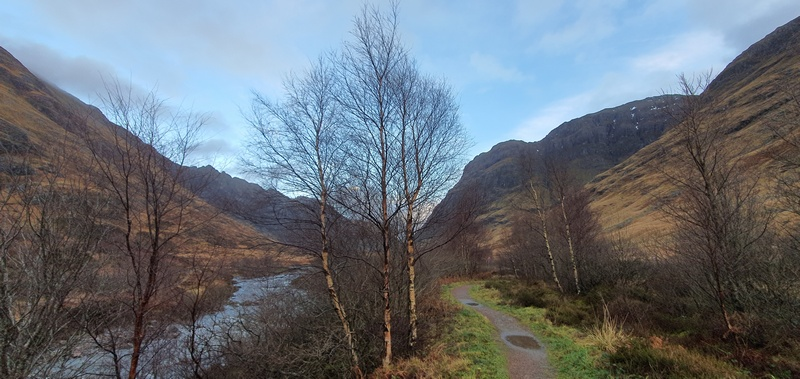 Glencoe Woodland Path in winter river and path © 2019 Scotiana