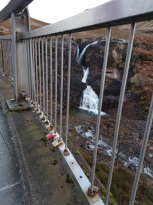 "Lairig Eilde Bridge with ""love locks"" at the Pass of Glencoe © 2020 Scotiana"