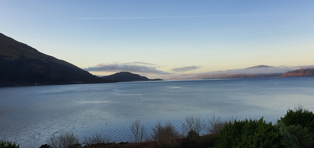 Scotland in winter Loch Linnhe from our window in the Lodge of the Loch Hotel © 2019 Scotiana
