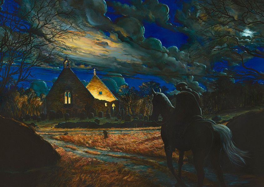 Auld Alloway Kirk painting for Oran Mor Glasgow by Nichol Wheatley - Source Scotsman