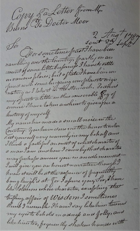 Robert Burns's letter to Dr Moore. Glenriddell Manuscript