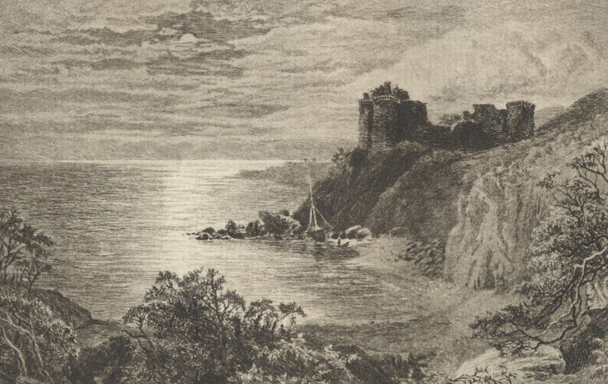 Ellangowan Castle - Drawn by John MacWhirter, Etched by Alex. Ansted