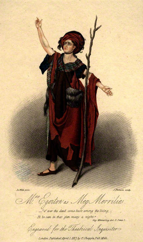 Engraving of Sarah Egerton as Meg Merrilies in Guy Mannering (1817)