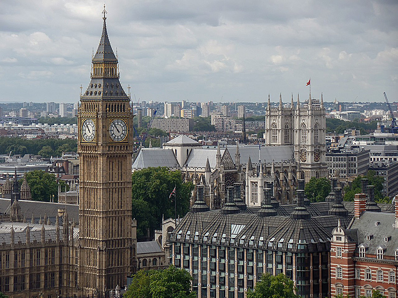 Big Ben and Westminster Abbey as viewed from the London Eye across the River Thames.