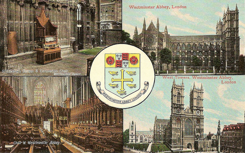 Multiview postcard of Westminster Abbey -Valentines before WWI